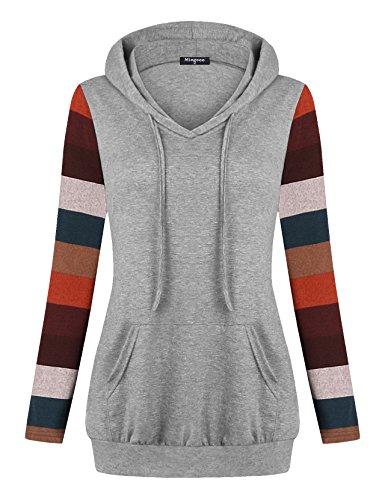 Soft Surroundings,Miagooo Women's Crew Neck Long Sleeve Pullover Sport Hoodies Top with Kangaroo Pocket(Gray,Large) - Soft Surroundings Skirt