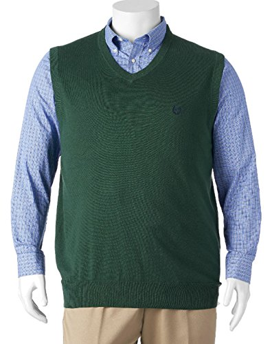 Chaps Men's Big & Tall Kent Pull-over Sweater Vest (3X-Large Tall, Green)