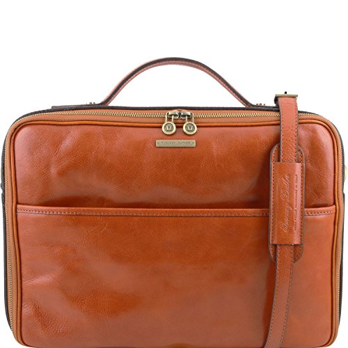 Leather briefcase laptop with Brown Leather Tuscany closure Honey Dark Vicenza zip IA4nEXq