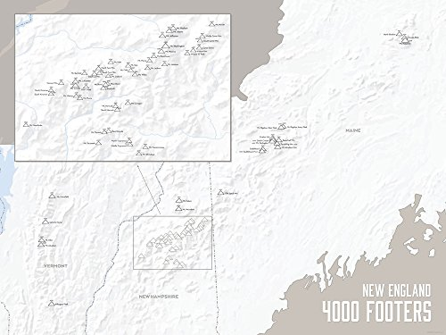 New England 4000 Footers Map Poster White & Gray