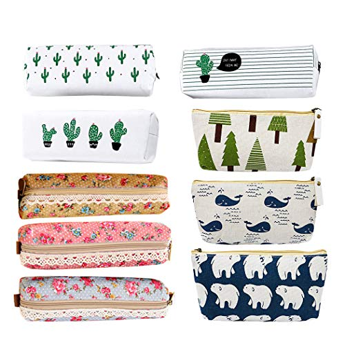 Creatiee 9pc Assorted Pen Bag Pencil Case, Forest and Animal Theme Canvas Design|Cactus Canvas Design|Flower Floral Canvas Design, Pen Holder Stationery Pencil Pouch Cosmetic Bags