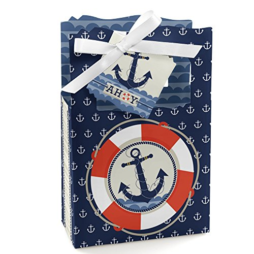 Ahoy - Nautical - Baby Shower or Birthday Party Favor Boxes - Set of 12]()
