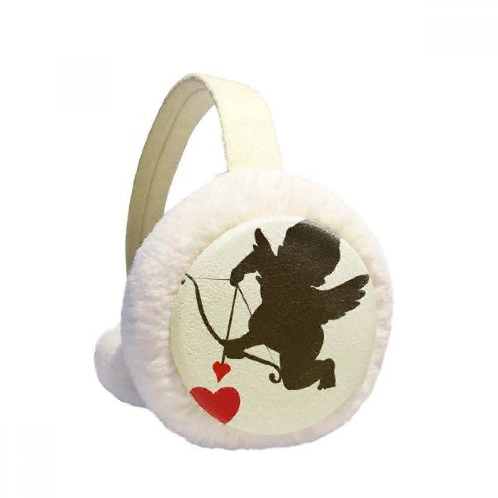 Love Cupid Angel Heart Pattern Winter Earmuffs Ear Warmers Faux Fur Foldable Plush Outdoor Gift