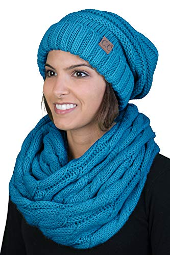 bHS-6100-46 Oversized Beanie Scarf Bundle - Teal (Solid) ()
