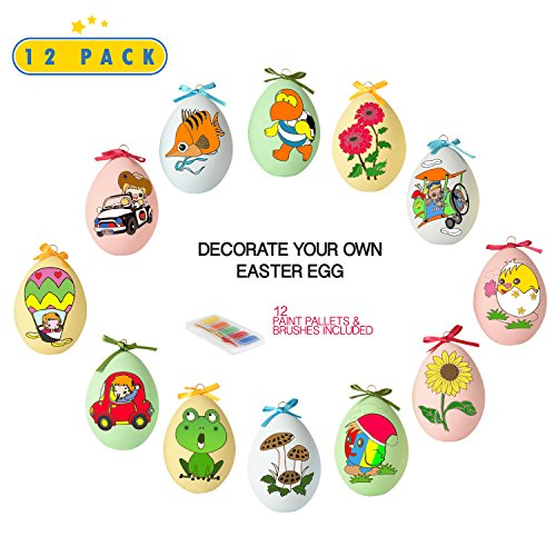 Toyrifik 12 Pack Easter Egg Ornaments Paint Craft for Kids- Easter Basket Fillers, Party Favors, Painting Eggs Easter -