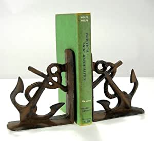 """Heavy Cast Iron Anchor Bookends Nautical Decor Old Brown 5 1/2"""" tall x 2"""" deep"""