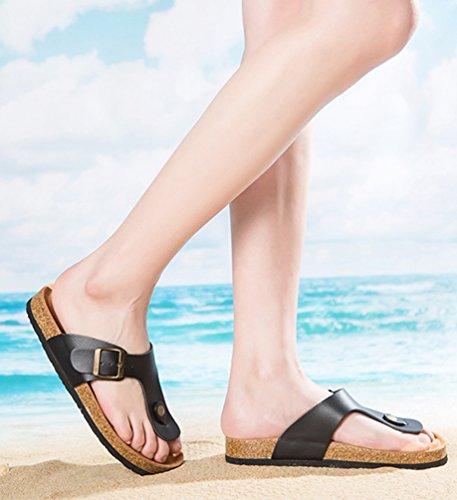 ZKOO Chanclas Footbed De Corcho Mujeres Punta Abierta Vendaje Zapatillas Verano Zapatos de Ajustable Hebilla Sandalias De Playa Negro
