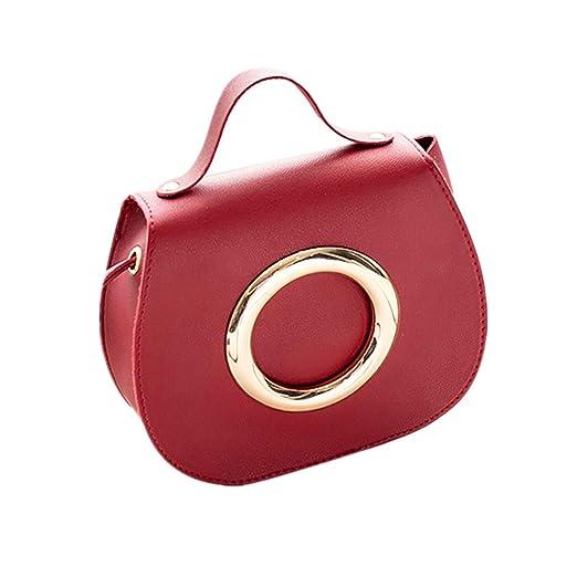 7ed0008e8 Amazon.com: Women Fashion Pure Color Leather Messenger Shoulder Bag Chest  Bag: VEZAD