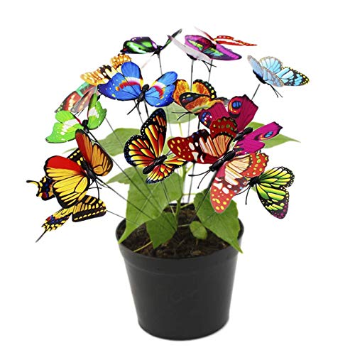 (50 Butterfly Stakes - Multicolored 3D Wings That Push Open or Close - Waterproof Butterflies for Flower Bed - 10