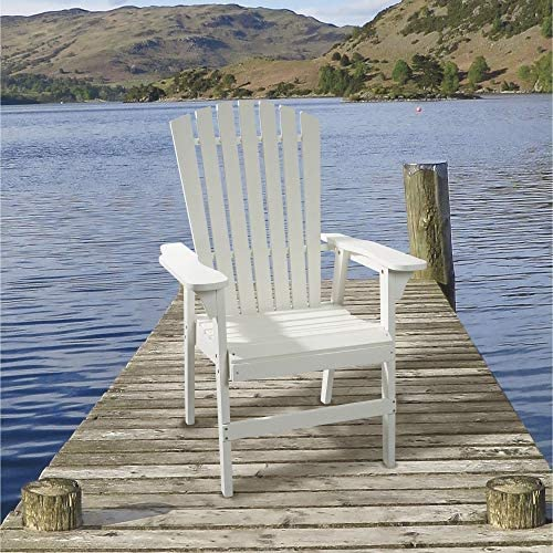 Painted Acacia Wood Upright Adirondack Chair – White