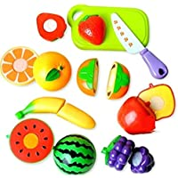 Jiada Realistic Sliceable Fruits Cutting Play Toy Set with Velcr, Multi Color