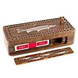 Rainbow Trout Wooden Cribbage Board with quality metal pegs and deck of cards