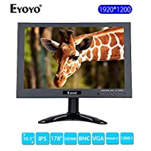 10 inch Color HD Resolution 1920x1200 1440P Security CCTV Monitor 16:10 Video and Audio TFT LED Display Screen HDMI VGA AV BNC USB Input (1920X1200)