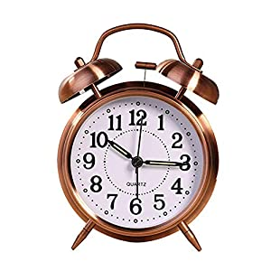 Haloku Retro Analógico Reloj Despertador, Campana Doble Vintage Silencioso Cuarzo Relojes Noche Luz para Dormitorio