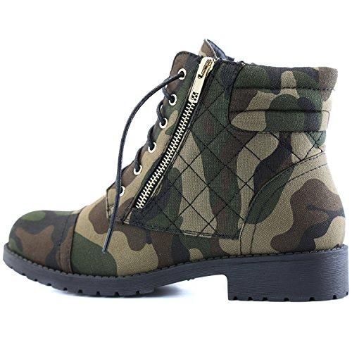 Dailyshoes Donna Militare Lace Up Fibbia Stivali Da Combattimento Caviglia Alta Esclusiva Trapuntata Tasca Carta Di Credito Stivaletto Camouflage Tela