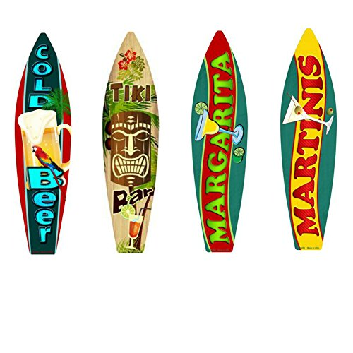 Bundle: Surfboard Wall Art Decor, Metal Drinks Beach Signs - Cold Beer Surfboard Sign, Tiki Bar Surfboard Sign, Margarita Surfboard Sign & Martinis Surfboard Sign ()