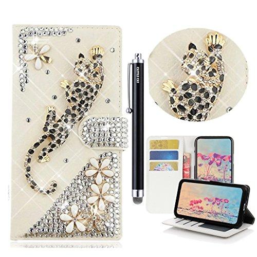 LG Aristo Case, LG Fortune Bling Wallet Case - Castle Cas 3D Handmade Sparkle Crystal Leopard Flowers PU Leather Anti-Scratch Card Slots Bumper Design Cover Case - Gold