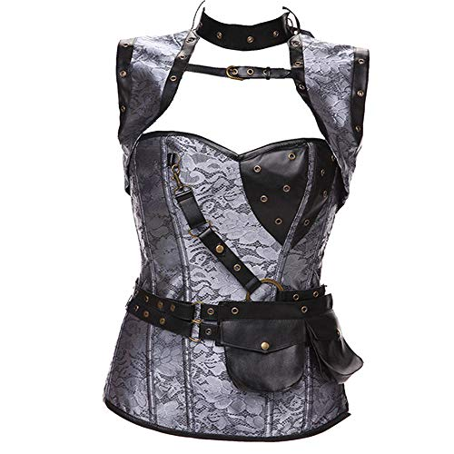 NDJqer Jacquard Women Cosplay Costumes Halloween Clothing Vest Shapewear Corset with Jacket,Gray,4XL]()