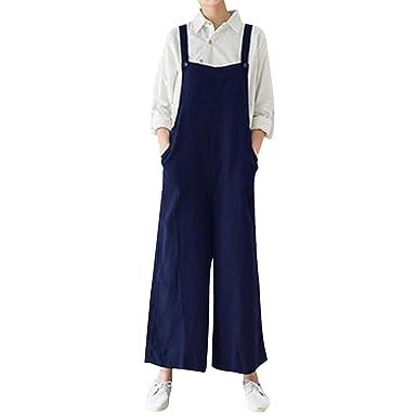 dcf028c652a 2018 Women s Cotton Cargo Pants Bib Overalls Dungaree Wide Leg Trousers  Jumpsuit by-NEWONESUN