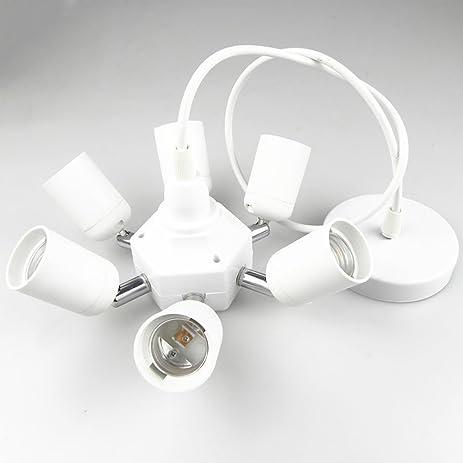 Hardwire Cord Ceiling Pendant Light Fixture kit with 7 E26 E27 ...