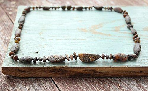 Raw Black Baltic Amber Necklace Gumstone