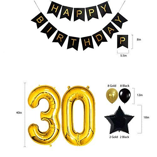 decocheer 30th Birthday Decorations Gifts Party Supplies for Him/Her (Men/Women) - Dirty 30 Birthday Party Supplies Backdrop Sash Happy Birthday Banner, 30 Gold Number Balloons