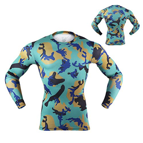 ARSUEXO Men's Camouflage Breathable Quick-Drying Elastic Tight Compression Base Layer Short T-Shirt