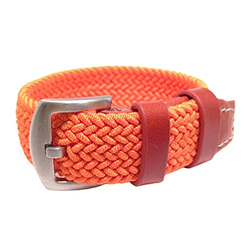 W&S Braided Woven Watch Strap Stretch Watch Band (20mm, Orange)