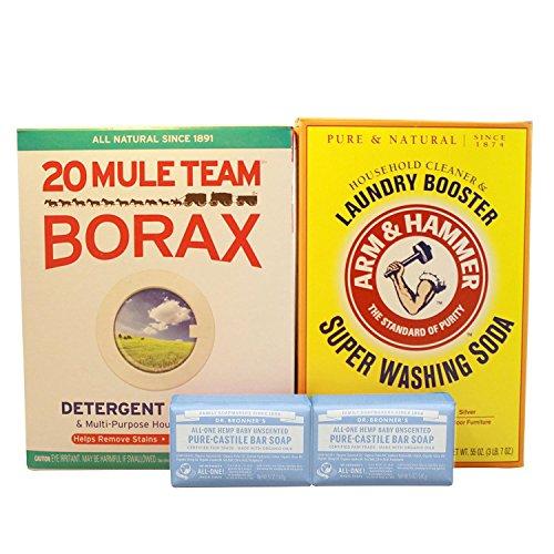 Borax Laundry Soap (Laundry Soap Kit - Dr Bronner, Borax & Washing Soda (Pure Castille Baby Unscented))