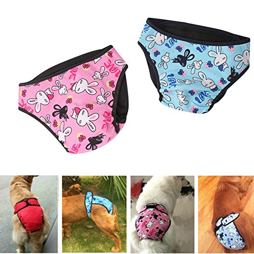 Comidox Premium Dog Diapers Female (Pack of 2) with Velcro Washable Reusable Sanitary Panties for Small to Large Dogs S Rabbit –pink Rabbit -blue ()
