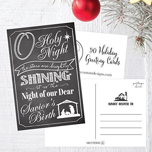 50 Chalk Holiday Greeting Cards, Cute Fancy Blank Winter Christmas Postcard Set, Bulk Pack of Premium Seasons Greetings Note, Happy New Years Cards for Kids, Business Office or Church Thank You Notes Photo #5