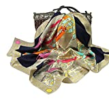 Silk Scarf Square Scarf with Saddle Print-Pantonight 100% Pure Silk 14MM Hand Rolling Edge Silk Twill Scarf for Women (Navy beige 409)