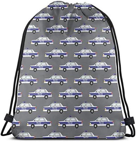 女性用パトカー巾着バックパックショルダーバッグ36 x 43cm