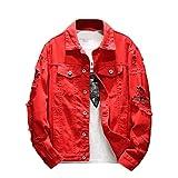 SportsX Mens Hip Hop Plus Size Lapel Collar Ripped-Holes Jean Jacket Coat Red 3XL