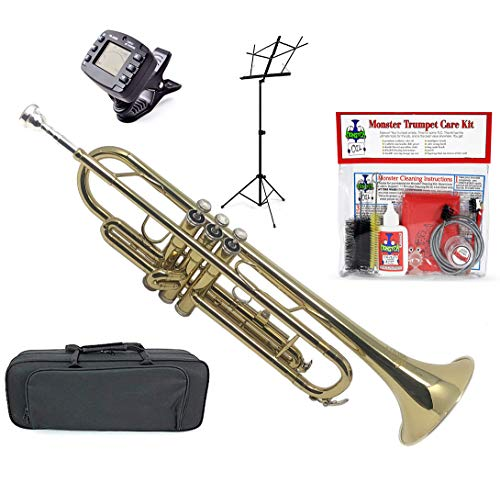 Monster Trumpet | Student, Beginner, Intermediate, or Professional. Everything You Need for Your Trumpet | Bb (B-Flat) Gold Lacquer, Mouthpiece, Tuner, Metronome, Stand, Cleaning Kit, Canvas Case ()