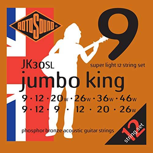 (Rotosound JK30SL Jumbo King  Phosphor Bronze Acoustic Guitar Strings 12 String (10 14   8 12 18 28 10 14 24 30 40)