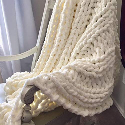Giant Knit Chenille Blanket Throw Hand Knit Fluffy Blanket Creamy Hand Knitted Blanket for Family Xmas Gift by FAU-Hand Knit Blanket (Image #2)