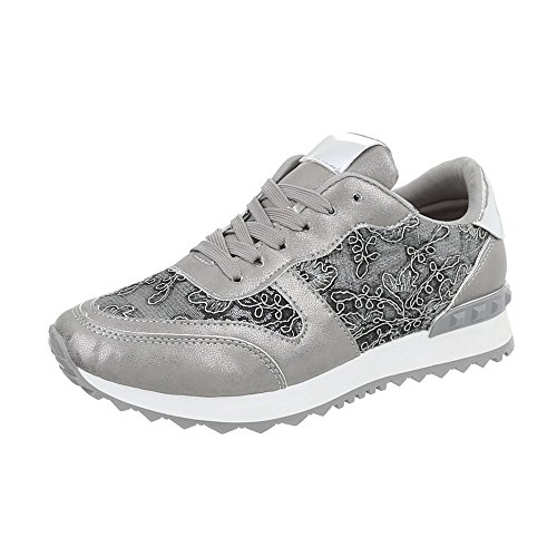 Ital G Design Grau Freizeitschuhe Schnürsenkel Silber 98 Damenschuhe Low Sneakers rrw8qP