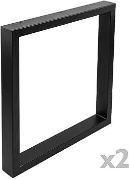 PrimeMatik - Pies rectangulares para Mesa Patas en Acero Negro 680 ...