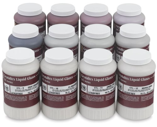 AMACO Crystaltex Glaze Classroom Pack 2, Assorted Colors, Set of 12 Pints