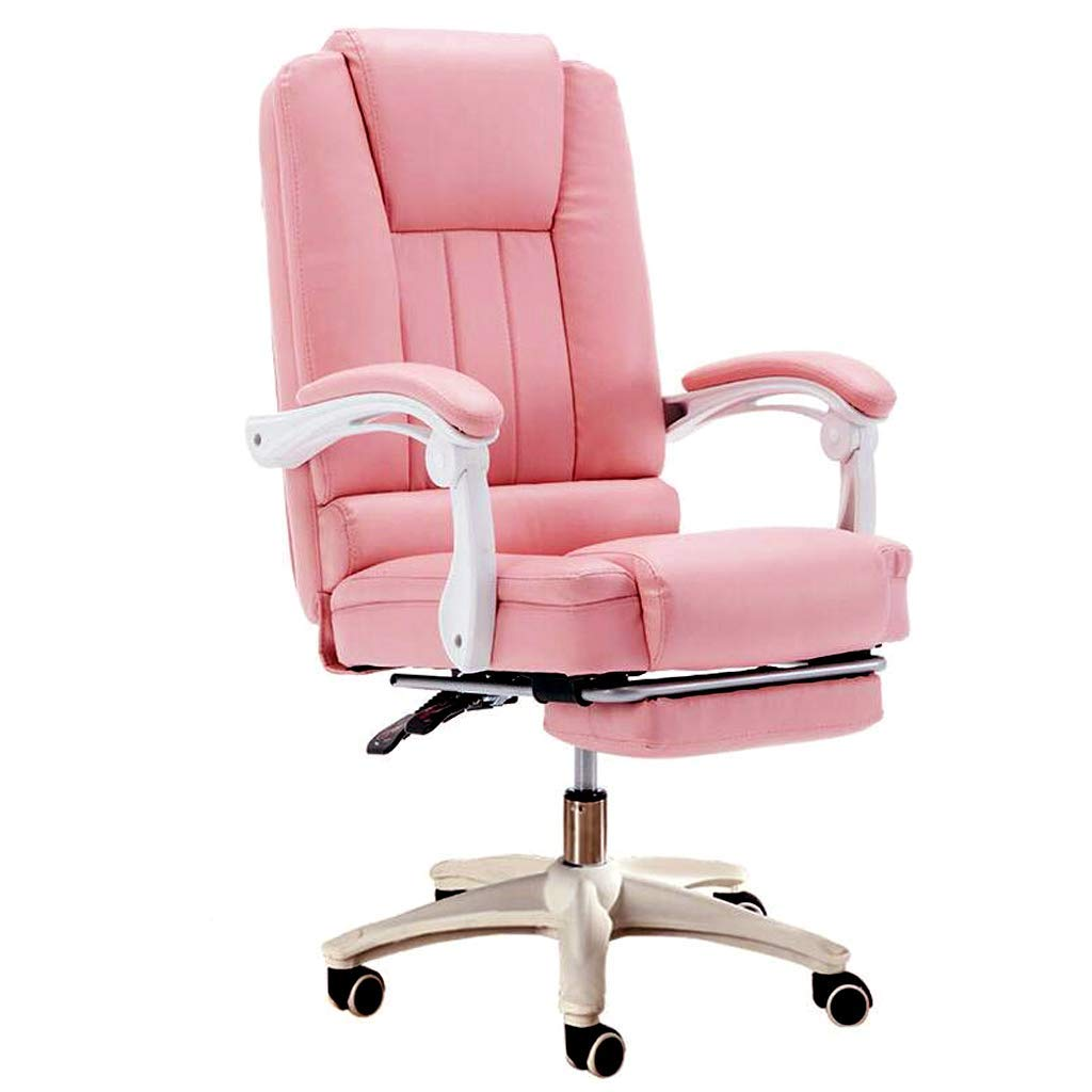 Fubas- Padded Office Chair, Leather Recliner with Leg Rest, 13 cm Comfortable Seat, 145° Reclining, Height Adjustable, High Load Capacity (Pink)
