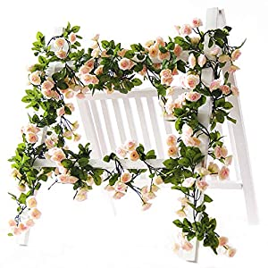 Li Hua Cat Rose Garland Artificial Rose Vine with Green Leaves 63 Inch Pack of 3 Flower Garland For Home Wedding Decoration (pink) 78