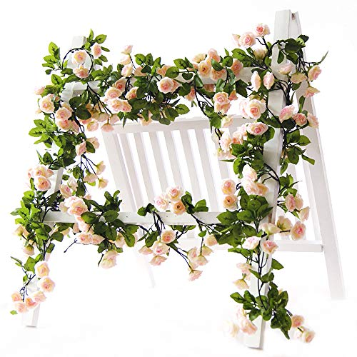 (Li Hua Cat artificial flower 60 heads rose vine garland artificial Flowers plants for wedding home party garden craft art decor 2pcs (Spring-pink))
