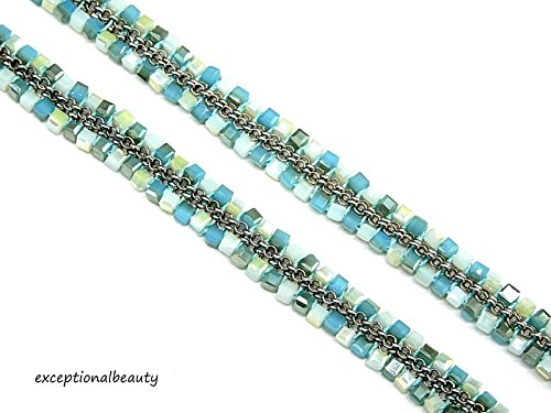 - OMG Blings Exceptional Beauty White Blue Opal Glass Beaded Faceted Square Cubes & Chain Weave 20 Inch Necklace