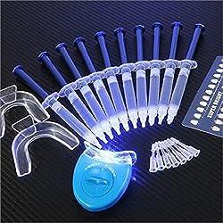 Teeth Whitening Kit (10) Gels (2) Trays (1) Blue White Led Light