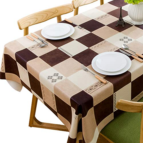 """JZY Heavy Duty Vinyl Table Cloth for Kitchen Dining Table Wipeable PVC Tablecloth for Rectangle Table (54"""" x 108"""", Lattice-2)"""
