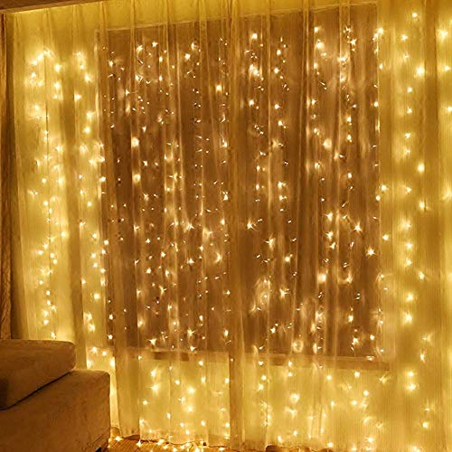 MYGOTO 304 LEDs Window Curtain String Lights Connectable 9.8ftx9.8ft 8 Modes with Memory 30V UL Certified Power Supply for Home, Garden, Wedding, Party, Christmas Decoration (Warm White) from MYGOTO