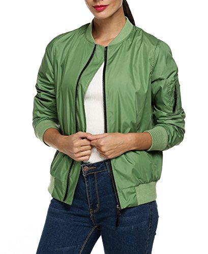 Zeagoo Womens Classic Quilted Jacket Short Bomber Jacket Coat, Army Green New, Large