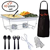 Tiger Chef Full Size Disposable Wire Chafer Stand Kit, Set Includes Chafing Stands, Fuel Gel Cans, Aluminum Full & Half Size Pans, Serving Tong & Utensils (40 Piece)