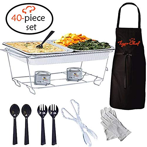 Chafer Warmer - Tiger Chef Full Size Disposable Wire Chafer Stand Kit, Set Includes White Waitress Gloves, White, 40 Piece